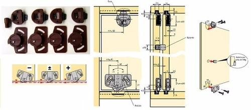 kit sistema para porta de correr sl55 hettich para 2 portas