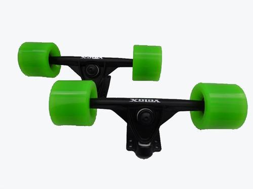 kit skate longboard truck velox rodas vintage verde abec 15