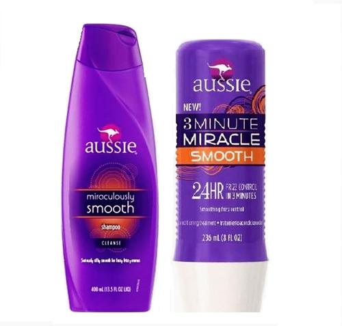 kit smooth aussie shampoo 400ml + 3 minute miracle 236ml