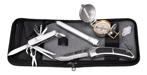 kit sobrevivencia canivete, lanterna, bussola, estojo guepar