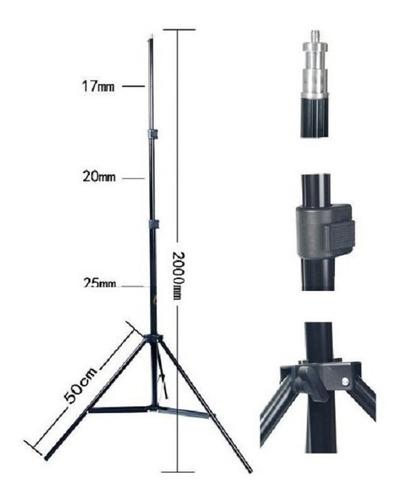 kit softbox 50 x 70 com soquete duplo e tripé de 2 metros