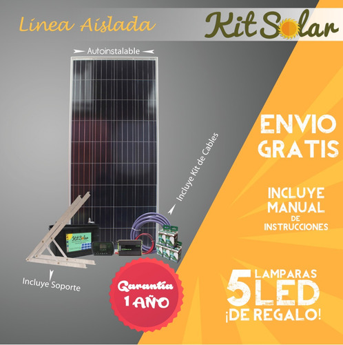 kit solar completo energia 220v panel inversor usb led casa