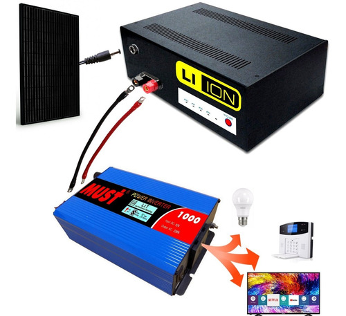 kit solar completo inverter 1000w 12v bateria litio k1000