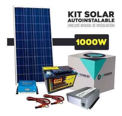 kit solar con inversor de 1000 w 220 v. y bateria ciclo profundo de 65 ah cortes de luz casas de campo usb envio gratis