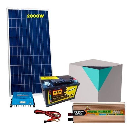 kit solar con inversor de 2000 w + panel + bateria de 160 ah