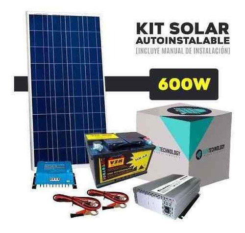 kit solar con inversor de 600w 220v + batería c/profundo 45a