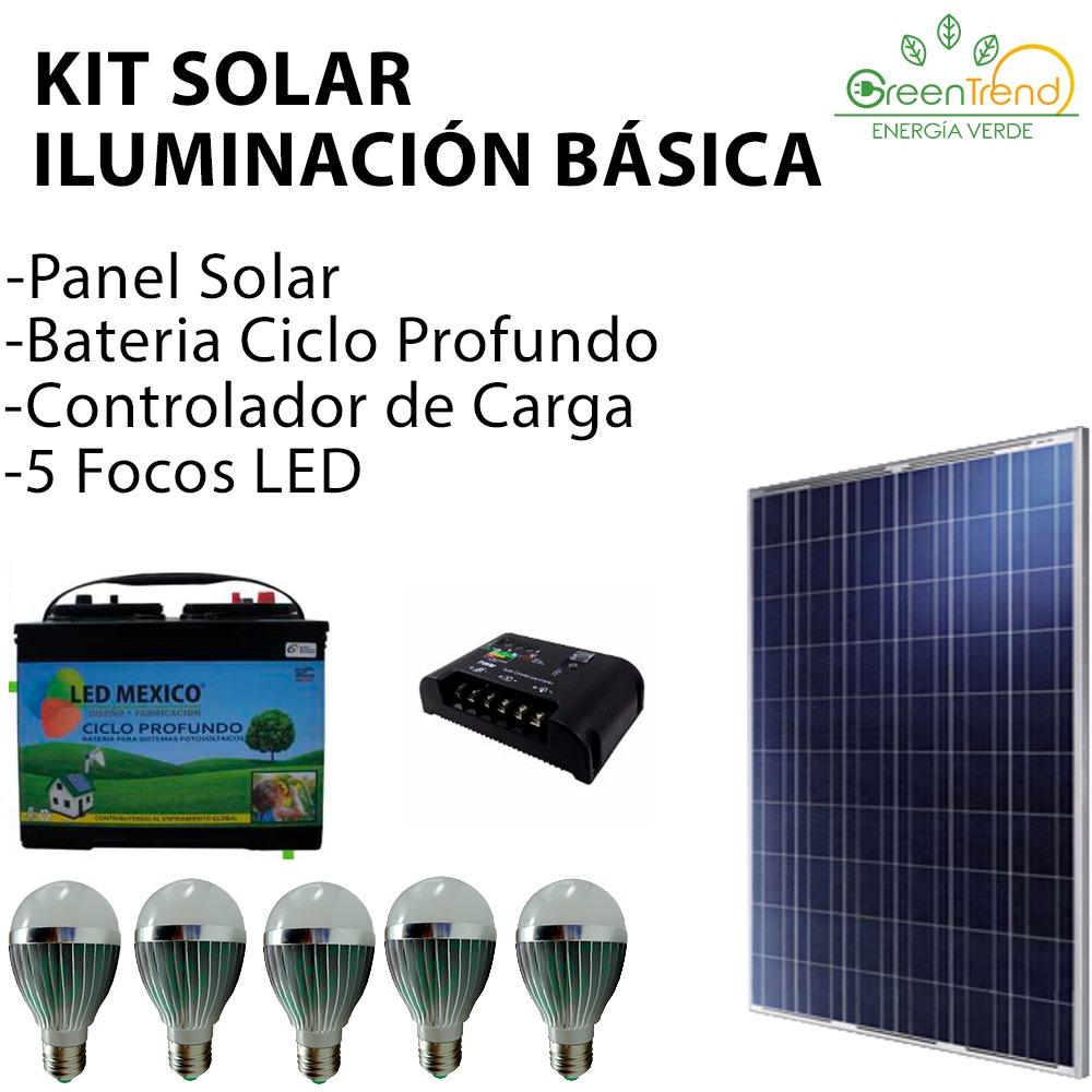Kit solar iluminaci n b sica panel solar bater a focos led 6 en mercado libre - Focos led solares ...