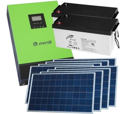 kit solar inversor híbrido ups 2000w + paneles + baterías
