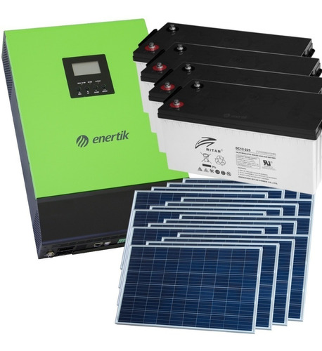 kit solar inversor híbrido ups 4000w + paneles + baterías