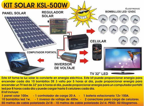 kit solar ksl500w cattleman para laptop 10luces celulares tv