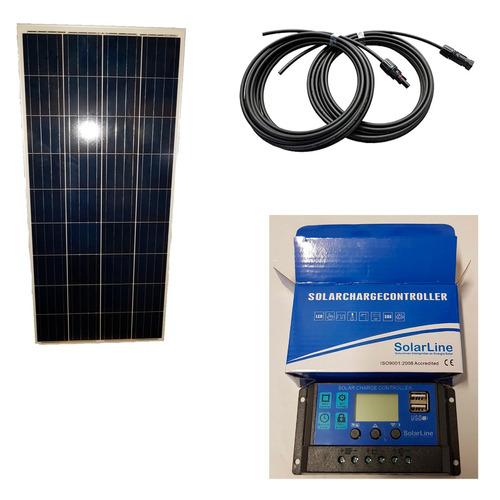kit solar panel 150wp + regulador 20 amper + cable mc4 8 mts