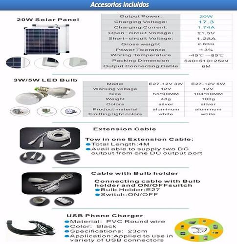 kit solar portable con panel de 20 w +luces+radio+mp3