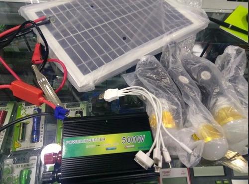 kit solar portátil 4 focos/inversor220v/radio fm am/bluetooh