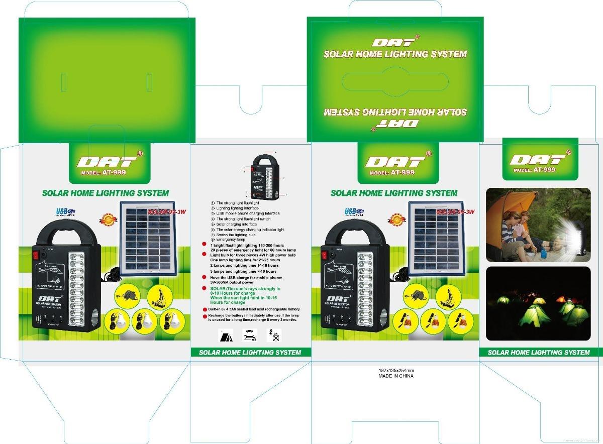e50312436474d Kit Solar Portátil Panel Lamparas Led Linterna Cargador Usb -   1.650