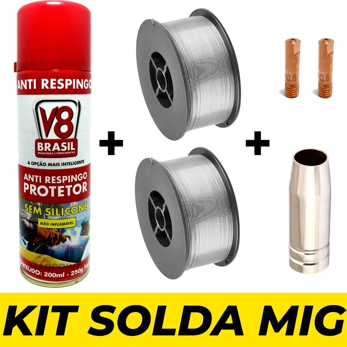 Kit Solda Mig Sem Gás - Anti Respingo Arame 0,8mm Bico Bocal - R ... 2c144fc59f