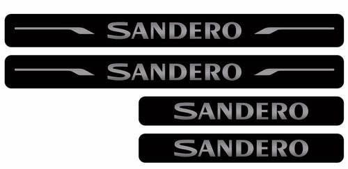 kit soleira adesiva renault sandero preto 4 peças plotter