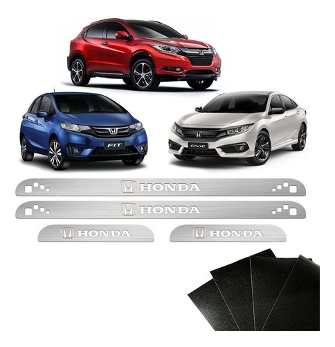 kit soleira honda civic hr-v fit city com protetor de porta