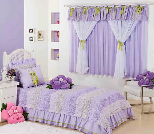 kit solteiro cobreleito almofada + cortina lilás 6pç pág: 48