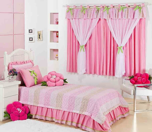 kit solteiro cobreleito almofada + cortina rosa 6 pç pág: 48