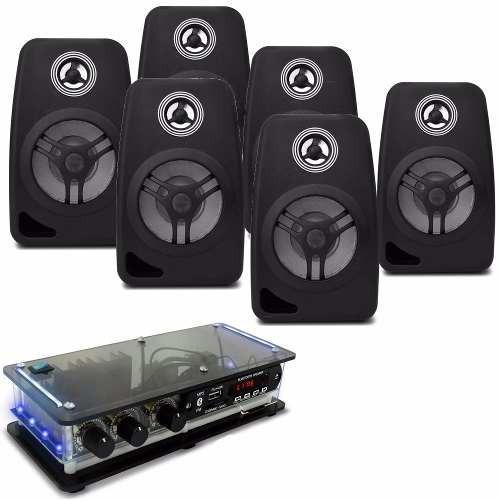 kit som ambiente 6 caixa acustica pretas c/ amplificador bt