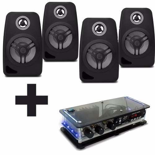 kit som ambiente amplificador bluetooth + caixas acusticas