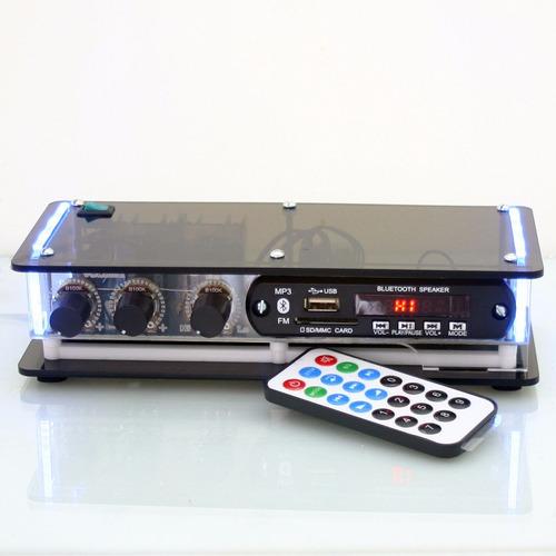 kit som ambiente amplificador usb fm bluetooth + 5 arandelas