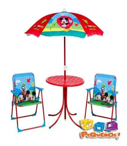 kit sombrilla+mesa y sillas jardin infantil.