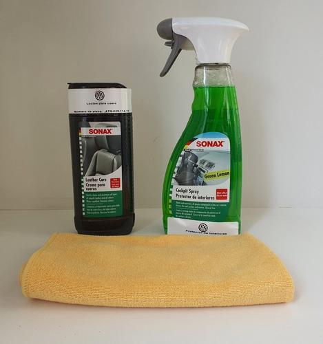 kit sonax limpieza interior tapizado cuero + paño + otros