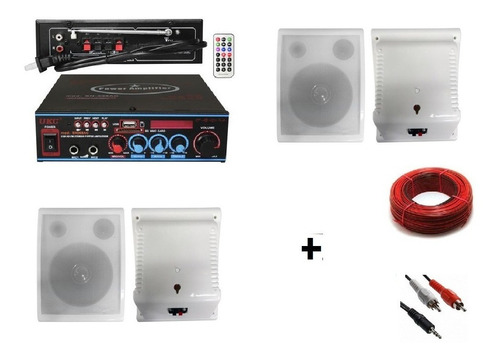 kit sonido ambiental bluetooth 4 parlante de pared o techo