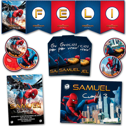 kit spiderman impreso invitaciones banderin candy bar