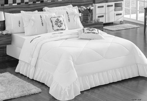 kit splendore cobre leito casal padrão colcha 7 pcs branco