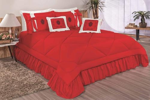 kit splendore cobre leito casal padrão colcha 7 pcs vermelho