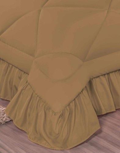 kit splendore cobre leito queen colcha 7 pcs caqui