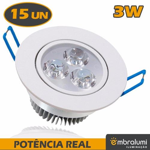 kit spot super led lâmpada direcionável 3w x 15 unidades