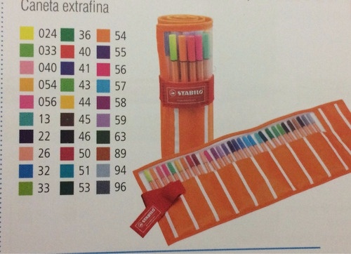 kit stabilo point 88 30 cores + 6 marca texto pastel