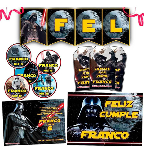 kit star wars candy bar invitaciones banderín