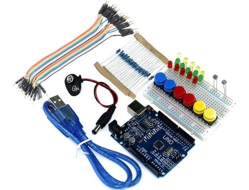 kit starter arduino uno r3 + protoboard y accesorios oferta!