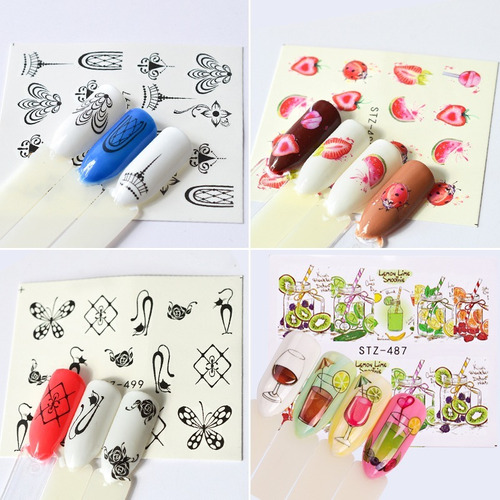 kit sticker tatoos uñas - paquete x 10 sobres