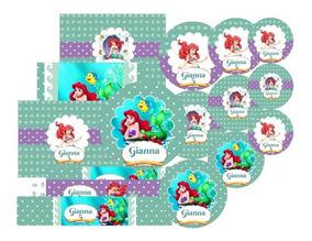 Kit Stickers Candy Bar La Sirenita X 120 U Ideal 20 Niños