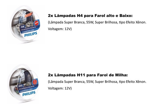 kit super brancas philips crystal vision nissan frontier
