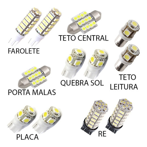 kit super lâmpadas led fielder pingo teto xenon ré torpedo