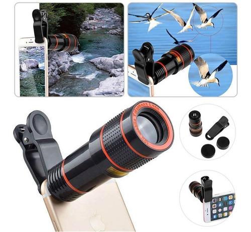 kit super luneta lente zoom celular universal + mini tripé
