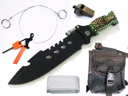 kit supervivencia cuchillo pedernal sierra etc 6 accesorios