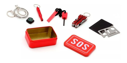 kit supervivencia sos emergency cort plumas brújula silbato