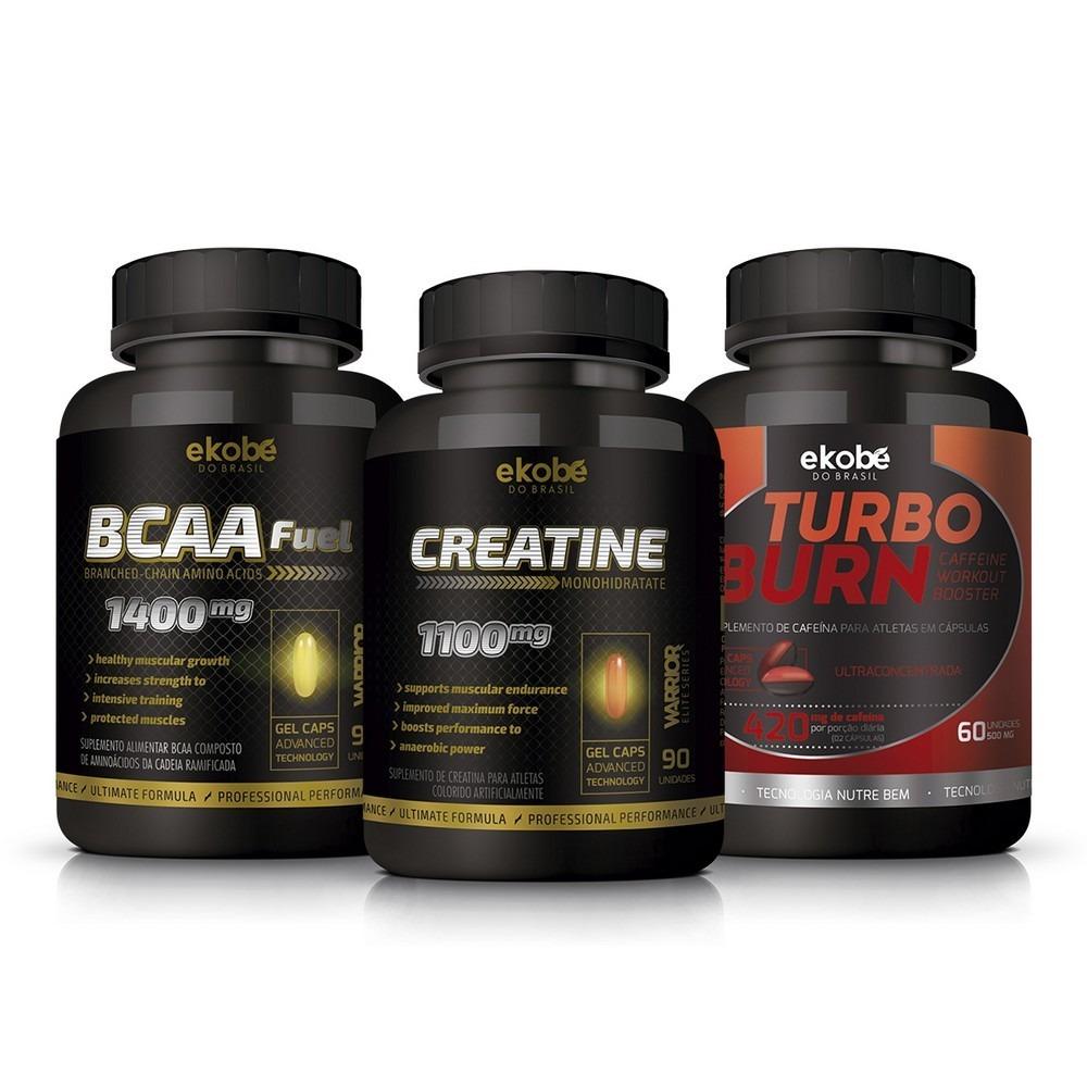 Kit Suplemento Creatina + Bcaa + Turbo Burn Cafeína