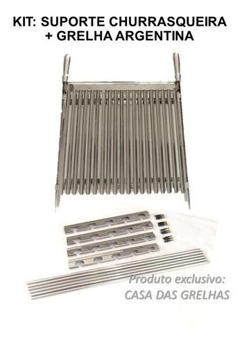 kit suporte churrasqueira 60cm + grelha argentina inox 50cm