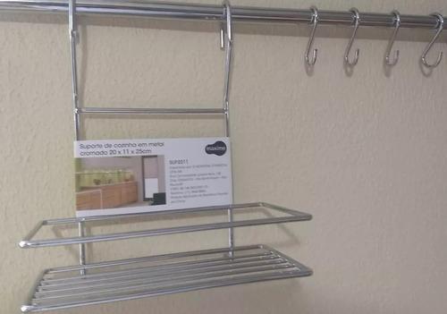 kit suporte cozinha condimento + barra