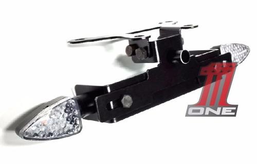 kit suporte de placa com luz placa e pisca led moto gsr 750