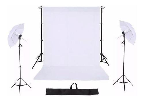 kit suporte fundo mcf 2mx2m + kit iluminação + tecido +bag
