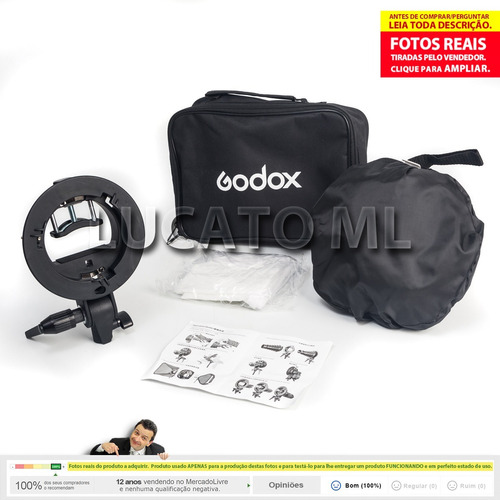kit suporte godox s-type p/ flash + softbox 60x60 bowen np